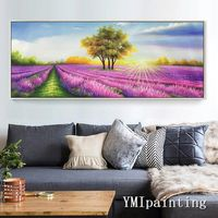 Flower acrylic Painting on Canvas lavender extra Large Sunshine Purple Wall Pictures Hand Painted Original floral Art cuadros abstractos $149.00