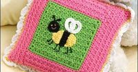 "Bee Pillow - Crochet an adorable pillow for fun. Skill Level: Easy Finished size: 10"" square. Designed by Michele Wilcox free pdf from FreePatterns.com"