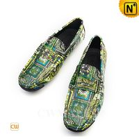CWMALLS® Men Printed Leather Moccasins CW708220[Leather Shoes Reviews, Custom Made]