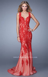 La Femme 21156 Lace Open Back Red Evening Gowns 2015