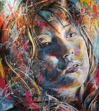 Working in portraiture, painting freehand, using only spray paint and without the aid of brushes David has developed a signature multi-layered style. Incorporat