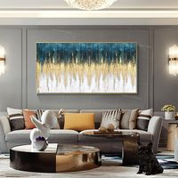 Framed wall art acrylic Paintings on canvas Original Extra large Gold teal green blue art leaf wall art Sound wave texture painting $159.00