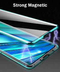 Bakeey 360º Curved Magnetic Flip Double-sided 9H Tempered Glass Metal Full Body Protective Case for Realme 5 Pro
