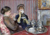 As defiantly disruptive of the male gaze as Olympia, in its own way. The Cup of Tea, Mary Cassatt.