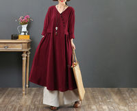 Burgundy v-neck loose casual dress,mid-length women's dress,cotton loose blue dress,90s retro dress,boho long sleeve versized pullover dress $75.00
