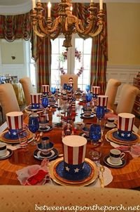 4th of July Table Setting Tablescape in Red, White & Blue