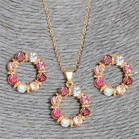 Hesiod 2 pcs/Set Gold Color Sweet Pink Round Circle Shape Pink Color Austrian Crystal Necklace Earring Jewelry Sets For Women $4.95