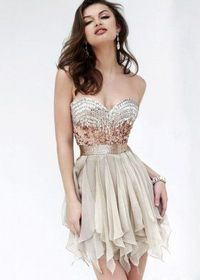 Jeweled Sequined Nude Short Ruffled Chiffon Cocktail Dress