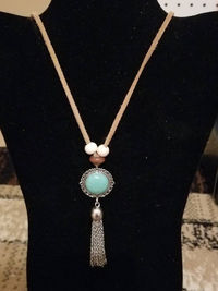 Turquoise Pendant with Silver Chain Tassel Necklace $14.00