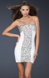 La Femme 17156 Short White Stones Tight Prom Dress