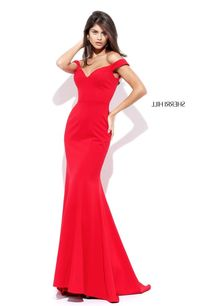 Sherri Hill 50730 Red Off Shoulder Long Fitted Prom Dress