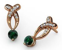 Twisted Earrings Emerald Studs, Bypass Diamond Earrings 14K Gold $1513.40