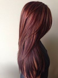Red Ombre Hair Color with Golden Highlights http://www.jexshop.com/FREE-FOR-A-LIMITED-TIME