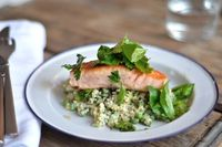 spring quinoa with salmon and fresh herb salad.