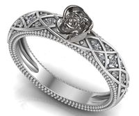 Celtic Silver Love Ring Flower Ring Promise Ring Unique Engagement Ring with Side Diamonds Floral ring Birthday Gift For Her Gift $595.15