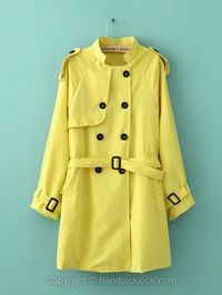Yellow Stand Up Collar Long Sleeve Double Breasted Belt Coat