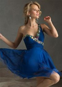 Iridescent Stones Short One Shoulder Homecoming Dresses