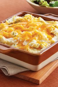 Low Fat Mashed Potato Casserole Recipe | Safeway - Reduced fat Lucerne cheese and Lucerne light sour cream lighten up this creamy baked side dish.