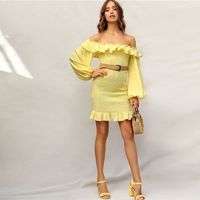 Boho Yellow Ruffle Off Shoulder Lantern Sleeve Smocked Party Dress Women Spring Solid Strapless Shirred Bodycon Dresses