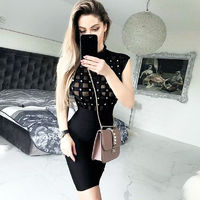 2017 Sexy Hollow Out Rivet High Neck Mesh Sexy Black Club Bandage Dress