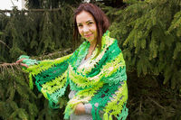 Neon crochet green scarf as knit Christmas gift, oversized long clothes for plus size woman. Boho cape. Lace knit wrap $56.00