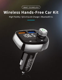 QC3.0 Quick Dual USB Car Charger Bluetooth FM Transmitter Support Hands-free - Black