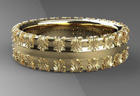 Roman wedding bands 7mm wide 14 karat white and yellow gold anniversary band design by Sal Knight © $490.00