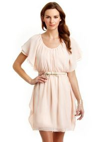GABBY SKYE Flutter Sleeve Dress with Belt