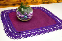 Purple square crochet table overlay, as anniversary gift for wife. Natural linen tablecloth. Crochet lace doily. Boho decor. 22.44*22.44 in. $32.00