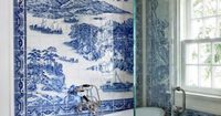 blue and white feature tile wall - Traditional Style - Shades of Blue
