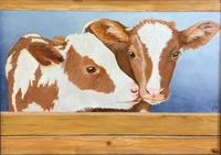 Best Friends Little Calves 16x12 Inch Wrapped Canvas Acrylic Painting