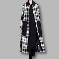 Black and white plaid woolen coat, Women's winter Coat, Hooded midi Coat, Wool cape, women overcoat