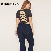 Must-have Vogue Sexy Open Back Hollow Out Slimming Plus Size T-shirt - Bonny YZOZO Boutique Store