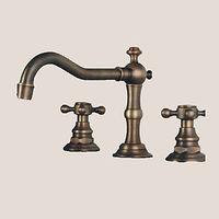 Antik Udspredt bred spary with Messing Ventil To Håndtag tre huller for Antik Bronze Vandhane Badeværelse