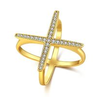Swarovski Elements Criss-Cross Statement Ring Set in Gold 925 Sterling Silver Unique Casual Rings $40.00