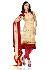 Unstitched party cream and red Kota doria tissue silk salwar kameez