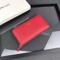Prada 1M0506 Lettering Saffiano Leather Wallet In Red