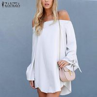 ZANZEA Sexy Mini Women Short Dress 2016 Off Shoulder Slash Neck Long Bowknot Sleeve Tops Casual Loose Solid Ladies Vestidos $7.64