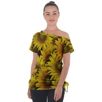 Surreal Sunflowers Off Shoulder Tie-Up Tee