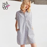 Vogue Simple Horizontal Stripped Summer Casual Short Sleeves Blouse Dress - Bonny YZOZO Boutique Store