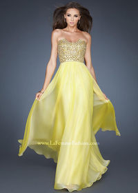 La Femme 18739 Yellow Chiffon Dress Cheap On Sale