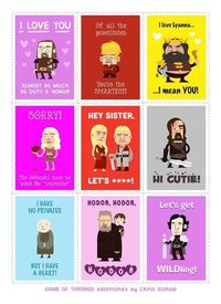 valentine day cards, valentine cards and game of thrones.