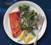 Coriander Salmon With Caper Broccolini recipe