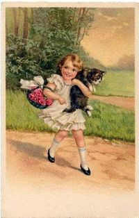 cat art, cats and little girls.