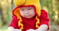 Crochet Winnie the Pooh Bear Earflap Hat for Baby Toddler Winter Warm Beanie Photo Props:Amazon:Clothing
