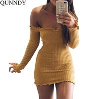 Qunndy Off Shoulder Club Women Dress Slim Bodycon Dress Autumn Winter Knitted Elastic Sweater Party Night Dresses Vestidos $33.00