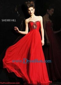 Red Long Ruched Jewels Beading Bust Sherri Hill 2845 Prom Dress