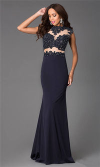 Navy Lace Jovani 24404 High Neck Long Prom Gown
