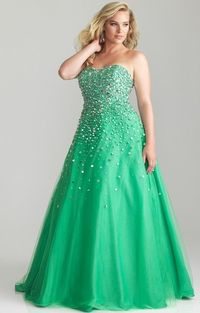 Green Open Back Sequins Plus Size Night Moves 6790 Prom Gown