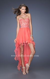 Strapless Sweeheart High Low Prom Dress by La Femme 19607 Hot Coral